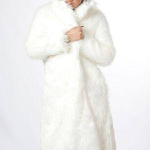 Long Black Faux Fur Coat Warm Jacket #EM18006
